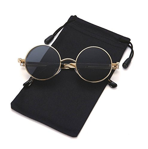 f31b74a1a9 Steampunk Sunglasses Round Metal Gothic Hippie Shades for Men and Women  LOOKEYE