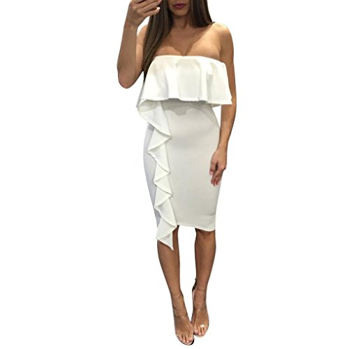 Womens Dresses Solid Summer Off Shoulder Stapless Evening Cocktail Party Beach Dress (L, White)