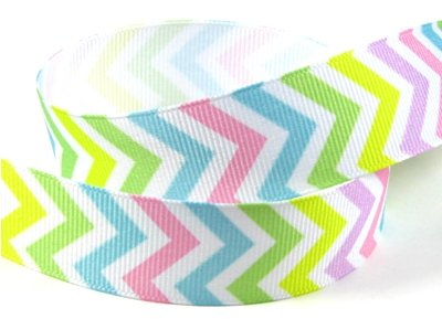 "Hipgirl 7/8"" Grosgrain Designer Fabric Ribbon Gift Package Wrapping, Hair Bow Clip Accessory Making, Crafting, Sewing, Wedding Decor, Boy Girl Baby Shower--5 Yard Chevron, Easter Pastel, D036"