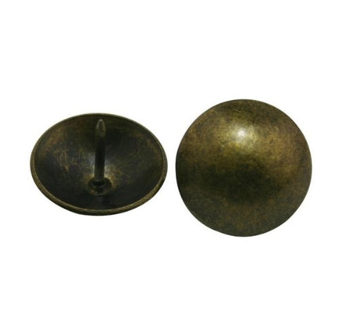 "Generic Metal Bubble Nails 0.95"" Diameter Color Antique Brass for Sofa Decoration Pack of 20"