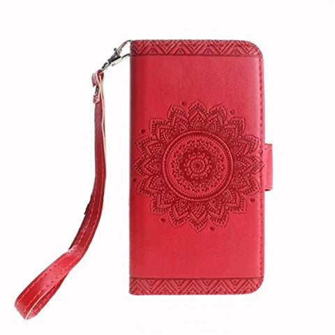 "iPhone X Case,Gift_Source [Emboss Mandala] [Stand Holder] Premium PU Leather Pouch Wallet Flip Magnetic Housing Cover Detachable Wrist Strap Case for Apple iPhone X (2017) 5.8"" [Red]"