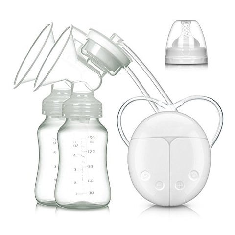 Electric Double Breast Pumps, Breast Pump Safe Milk Storage Bottle Dual Control Milk Suction and Breast Massager Breast Care with USB and Lid for Baby Breastfeeding by MYSWEETY