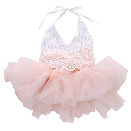 ONE'S Baby Infant Girls Lace Crochet Top Tutu Ruffle Romper Tulle Jumpsuit Overalls (12-18 Months, Pink)