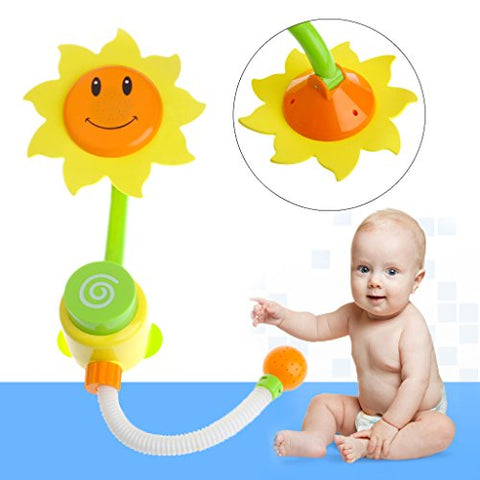 Amrka Baby Bath Play Toys Bathroom Swimming Sunflower Shower Faucet Sprayer for Children Kids Water Spraying Taps Early Educational Tool Bathtub Toy Gifts