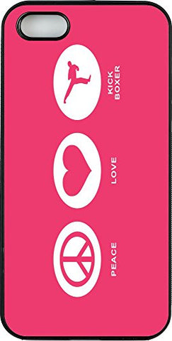 Rikki Knight Phone Case for Apple iPhone 5/5s - Peace Love Kick Boxer Tropical Pink/Black