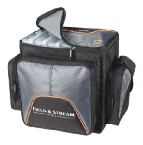 Field & Stream Sportsman Soft Sided Fishing Tackle Bag w 4-3600 Utility Boxes Trays