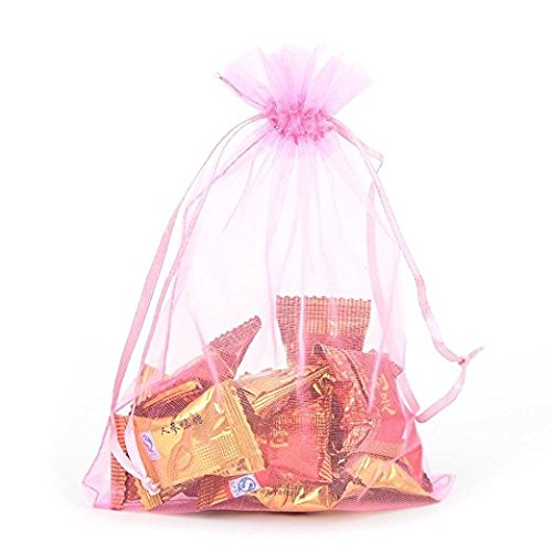 "Wholesale 100 pcs 3.7""x5.9"" Pink Organza Bags Wedding Favor Pouches Packing Bags Party Gift Bags Candy Bag Jewelry Pouch Drawstring Bags Supplies,Sheer Bags,Mix color Gift Bags LOW Price"