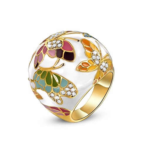 Birthday Gifts For Mom Present Mother Daughter In Law QIANSE Spring Of Versailles Enamel Rings Women Size 9 Gold Teen