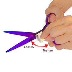 "Pet Grooming Scissors, SymbolLife 7"" Professional Dog Cat Pet Hair Grooming Stainless Steel Scissors Suit Kits Cutting & Curved & Thinning Shears with Trimming Comb and Clean Cloth - Purple"