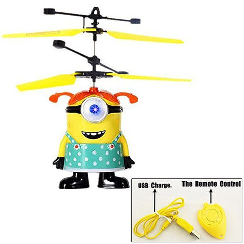 Girl ME Minion Flying Toy Flash Ball Remote Control Infrared RC Toys Despicable Helicopter Quadcopter Drone - WDLLC