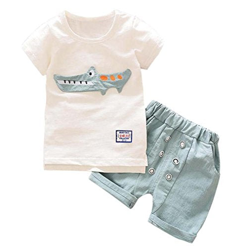 Hot Sale!Todaies 2Pcs Toddler Kid Baby Summer Boy Outfits Clothes Cartoon Print T-Shirt Tops+Shorts Pants Set 2018 (12-24M, Light Blue)