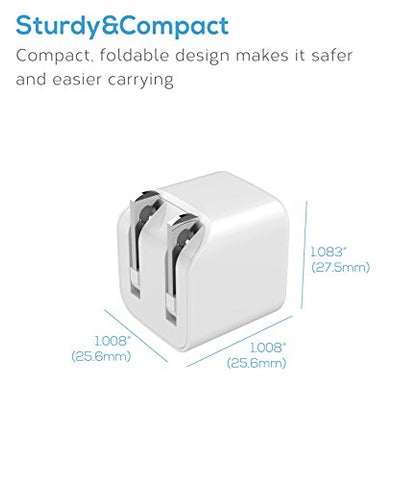 eeco Single-Port Ultra Small USB Wall Charger, Portable Travel Charger 5V 1A with Foldable Plug and SmartIC Charging for iPhone, iPad Air/Pro/Mini, Samsung, Nexus, HTC, Pixel, LG and many more