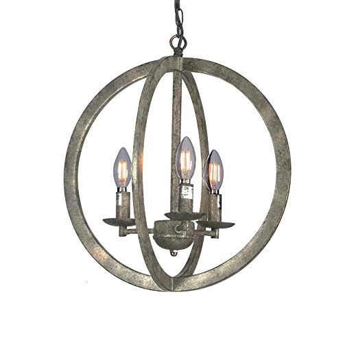 "Wideskall 16"" Industrial Vintage Bronze Metal Iron Frame Round Sphere Cage Chain Hanging Chandelier Ceiling Light 3-Bulbs Lighting Fixture, UL Certificated"