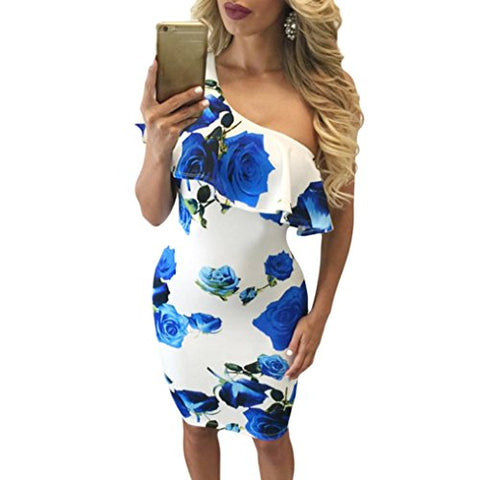 Women Summer One Shoulder Printed Party Cocktail Beach Short Dress (Blue, S)