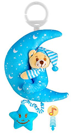 O-KIKI Teddy Bear Stuffed Animal Baby Plush Toy | Pull String Musical Toy (No Batteries Required!) | Hanging Bedtime Crib and Stroller Toy | Soft Plush Bear in Pajamas (light blue)