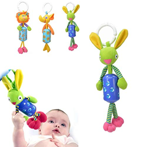 3-Pack Baby Musical Bed Bell Toy,Pausseo Cute Animal Rattles Soft Plush Doll Crib Mobile Rotation Bells Stroller Hanging Rotating Rattles Dolls Infant Bedding for Kids Newborn Baby