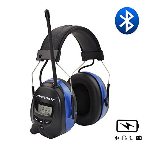 Protear Wireless Bluetooth Headphones Over Ear, AM/FM Radio Safety Earmuffs, with Rechargeable Lithium Battery & Built-in Mic, NRR 25dB Noise Cancelling Ear Protector for Working/Mowing