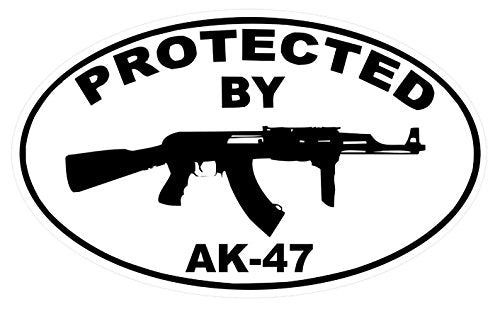 "1-Pc Radiant Unique Protected by AR-47 Sticker Signs Rifle Surveillance Windows Decal Indoor Reflective Door Outdoor Lawn Pole Business Burglar Sign Under Cameras Protect Video Hr Decals Size 3.5""x5"""