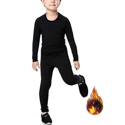 Minghe Boy's Base Layer Thermal Underwear Tops & Bottom Set 2 Pcs Fleece Lined Long Johns