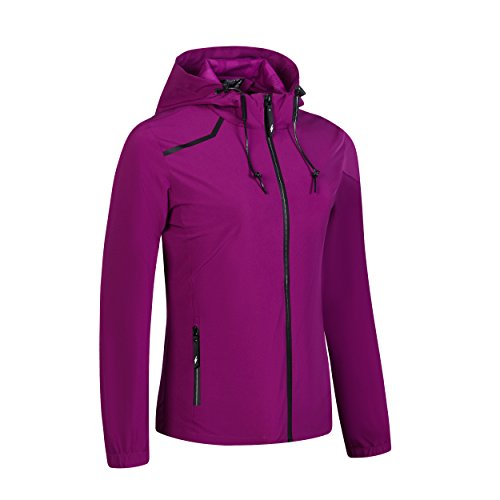 Womens Hiking Running Full Zip Jacket Plus Size Spring Winter Water Resist Rain Jacket Coat Brethable Lightweight Outdoor Windbreaker Purple S