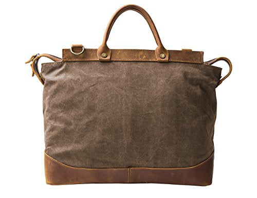 ECOSUSI Canvas Laptop Briefcase Bag Computer Bag Hiking Bag Camping Bag Weekend Bag Fits Most 15.6 inch Laptop, Coffee
