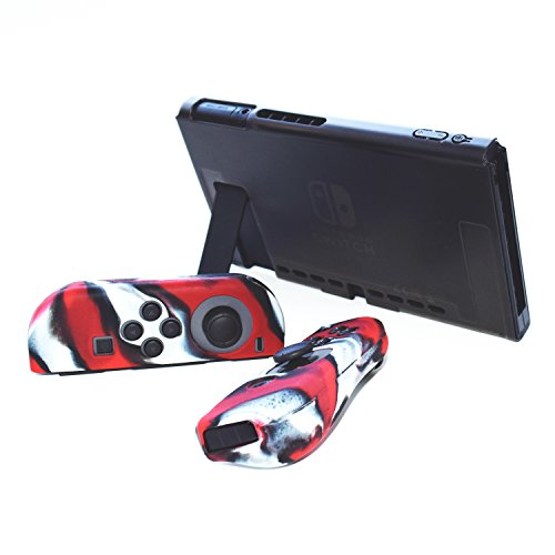 Hikfly 3in1 Ultra Slim Docked PC Cover Case for Nintendo Switch(Transparent  Black) & Silicone Covers (Camo Red) for Joy-Con Controllers with 8pcs