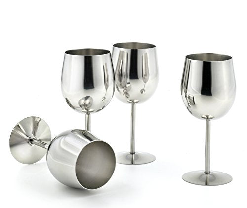 StainlessLUX 77374 4-piece Brilliant Stainless Steel Wine Glass Set / Wine Tasting Goblet Set - Quality Drinkware for Your Enjoyment