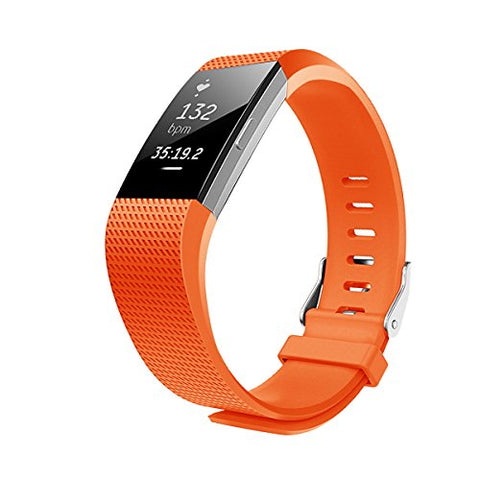 JUNYI Fitbit Charge 2 Bands ,Classic Sports Watch Adjustable Replacement Comfortable Bands for Fitbit Charge 2 Fitness Smart Wristbands Strap (Orange)