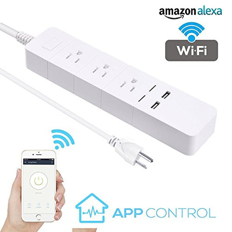 WiFi Smart Power Strip Surge Protector DIWUER Smart Plug Compatible with Alexa Google Assistant Auto-Off Function for Energy Saving 3 AC Outlets and 2 USB Outputs Remote Controlled appliances