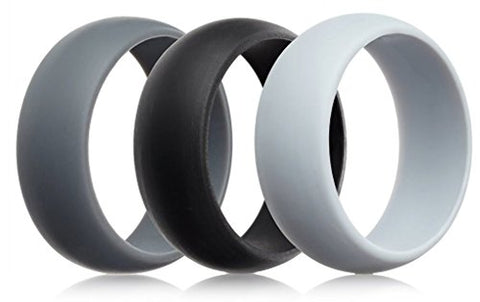 Mens Silicone Wedding Rings Wedding Bands - 5 Pack, 4 Pack & 3 Pack - 8.7mm Wide (2mm Thick)
