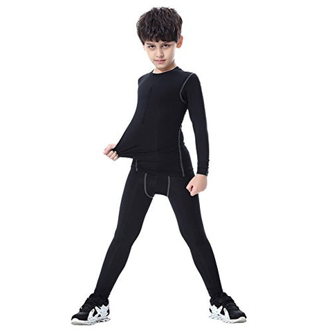 Fedi Apparel Boy Girls Sports Long Sleeve Compression T Shirt Base Layer Pants