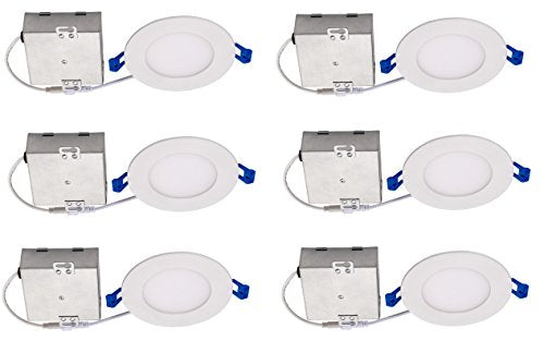 "Topaz Lighting (Pack of 6) 77229 9W Slim 4"" Dimmable Recessed Ceiling Downlight, 3000K, White, Easy to Install, Save Time and Money, Energy Efficient LED Lighting"