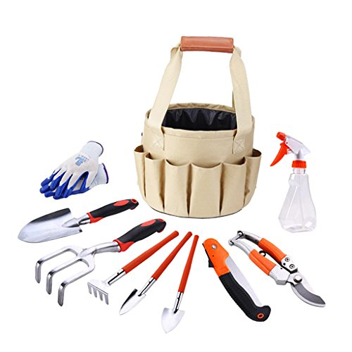 Baoblaze 10 Pieces Garden Tools Set - Gardening Tools with Garden Gloves and Garden Bucket- Gardening Gifts Tool Set, Garden Hand Tools with Storage Tote