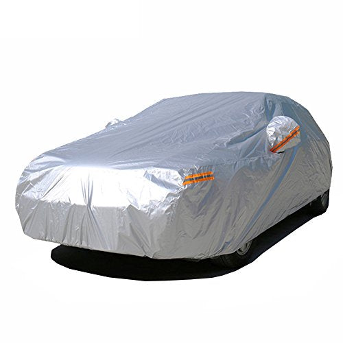 Car Covers For Automobiles Waterproof All Weather With Zipper Mirror Pocket Fit Hatchback (160 To 173 Inch) , For Mazda 3, Ford Focus, Mini Cooper, Audi A3, VW Golf