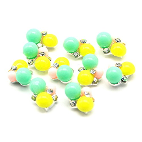 So Beauty 20 pcs Nail Art 3d Alloy Rhinestones Nail Art DIY Decorations Pellet Green-Yellow-Pink
