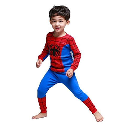 Baby Thermal Underwear Set Cartoon Printed Pajamas Pure Cotton Kids Home Suit,Spiderman 130cm/fit 5-6 T