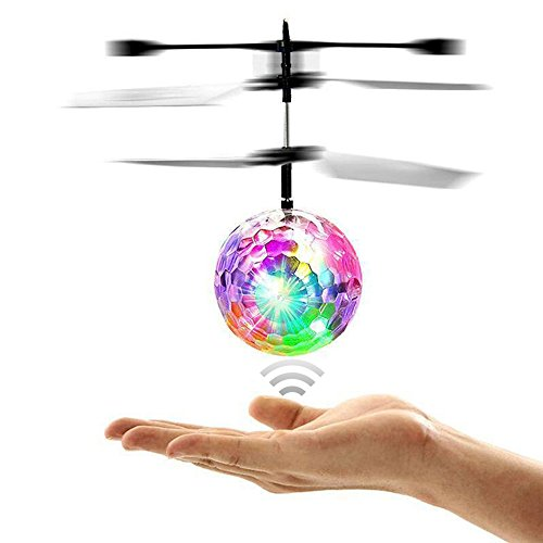 Amazingbuy - RC Flying Ball, Infrared Induction Helicopter Ball with Rainbow Shinning LED Lights for Kids, Flying Toy for Boys and Girls