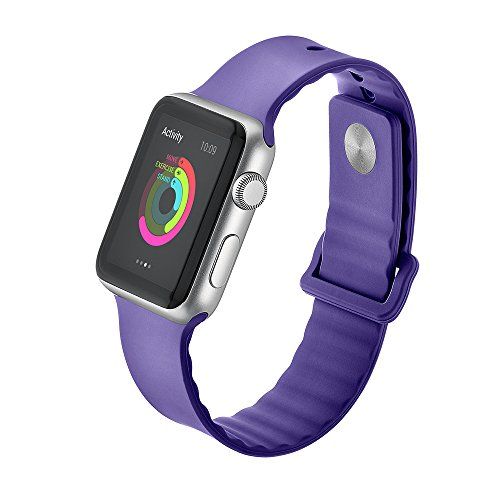 Hontao Silicone Band for Apple Watch 38mm, Soft Sport Replacement Strap for  iWatch Series 3/2/1 Men Women (purple 38mm)…