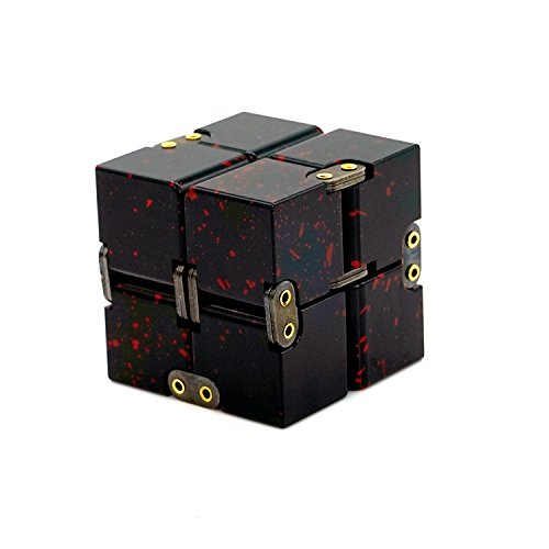 CHAREADA Infinity Cube,Aluminum Fidget Pocket Size Cube Toys Relaxation  Office Stress Reducers for ADD, ADHD, Anxiety, Autism Adult & Kids (Black)