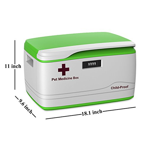 Combination Lock Medicine Box for Pet Dog Cat Child-proof Locking  Prescription Pill Case, Household First Aid Kits Empty Container Size 18 x  11 x 10