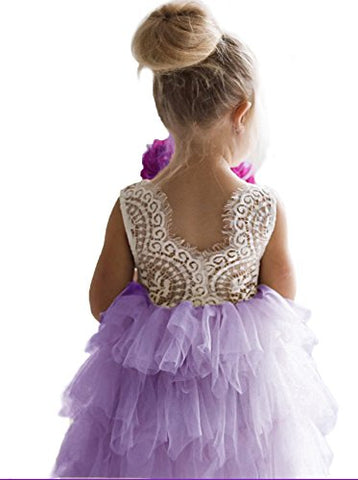 Backless A-Line Lace Back Flower Girl Dress (5Y, Purple)