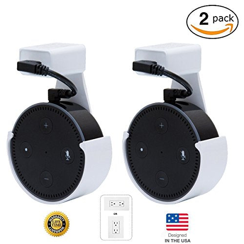 [UPGRADED] CloverTale Home Outlet Wall Mount Holder for Alexa Echo Dot, Home Mini, Bose, Anker round speakers Accessories (White, 2 Pack)