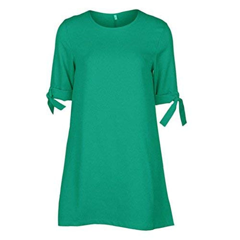 Dress for Women, Zulmaliu Short Bowknot Sleeves Polyester Club Mini Dress (S, Green)