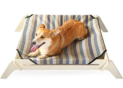 [OVERSTOCK SALE] PLS Pet Wooden Elevated Dog Bed, Large, Pin Striped  Canvas, Raised Dog Bed off the Ground, Natural Plywood Frame, Pet Cot