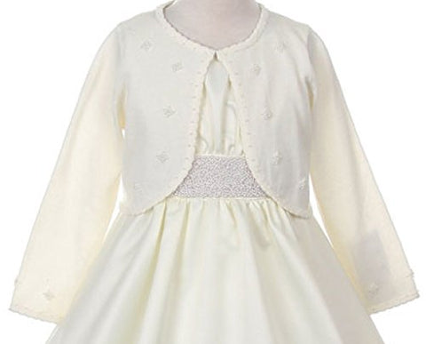 BNY Corner Flower Girl Sweater with Pearl Embellishments for Little Girl Ivory M CC3010