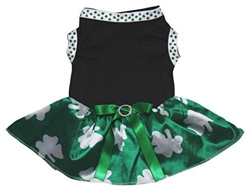 4b1a8c1e1cfc Petitebella Puppy Clothes Dog Dress Plain Clover White Top Bling Green Tutu  (Black Green Clovers