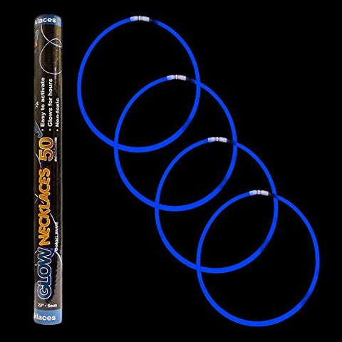 Fun Central S6 100 count 22 inches Premium Glow Stick Necklaces, Glow Necklace, Light up Necklace, Glowing Necklace, Glow in the dark Necklace - Blue