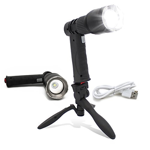 Portable Rechargeable Spotlight Worklight with Stand - Hand Held Wireless Battery Operated LED Flashlight - Bright Indoor & Outdoor Work Light and Mini Floodlight - High Lumen Handheld Flash Light