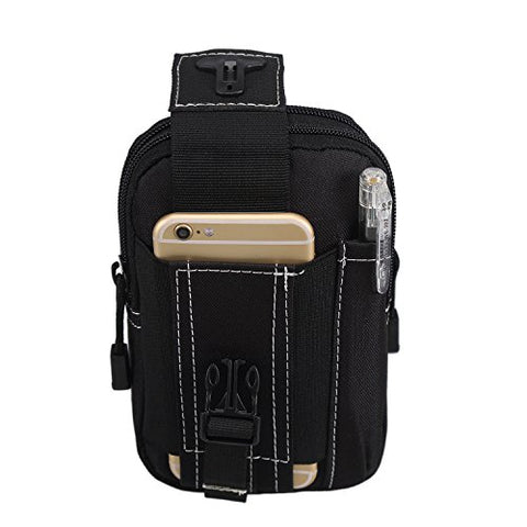 K-STAR Compact Multipurpose Tactical Smartphone Black Holster Molle EDC Security Pack Carry Case Pouch Belt Waist Bag Gadget Money Pocket for iPhone 6Plus