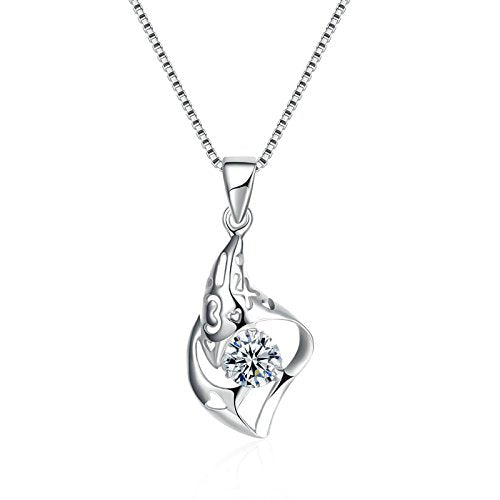 5251552b06a9a AnaZoz S925 Silver Cubic Zirconia Irregular Shaped with Heart Hollow Box  Chain Women Pendant Necklace